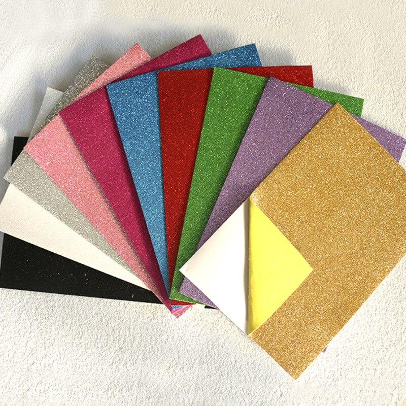 10pcs Multicolor Sponge Glitters Stickers Foam Paper Fold Scrapbooking Crafts Decor Diy Card Artwork 20 * 30cm 1.8mm