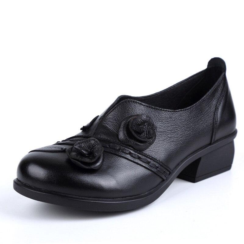Bas Noir Pompes Rond 2018 La Talons Véritable Main En Cuir bleu Beyarne Rétro Femmes Bout Chaussures Mi À jaune Style 6n1TYYq