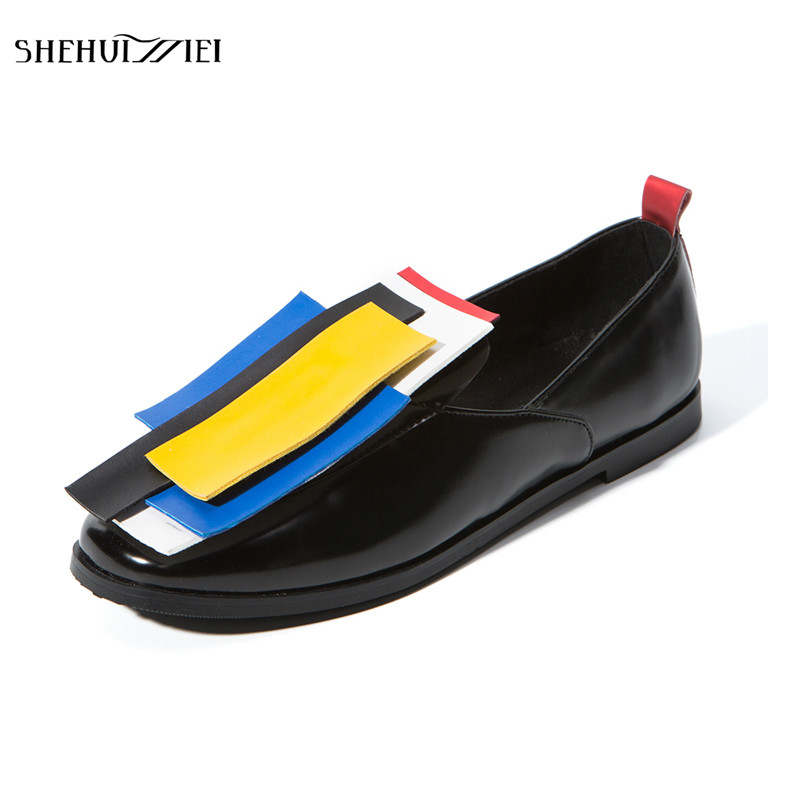 SHEHUIMEI Spring Women Oxfords Brogue Shoes Patent Leather Slip-on Square Toe Flats Casual Mixed Color Shoes Women Plus Size 43 qmn women genuine leather flats women croc embossed cow leather oxfords retro square toe brogue shoes woman platform flats