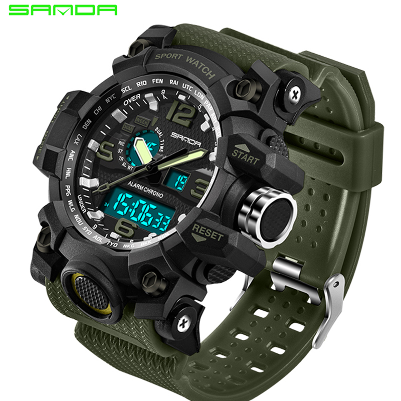 2017 SANDA Men's Military Sport Watch Men Top Brand Luxury Famous Electronic LED Digital Wrist Watch Male Relogio Masculino 742 dropshipping boys girls students time clock electronic digital lcd wrist sport watch relogio masculino dropshipping 5down