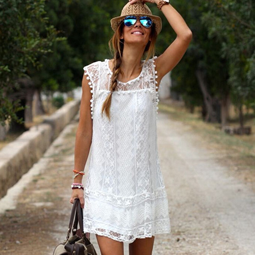 2017 new fashion women s sexy white flower lace o neck sleeveless club summer mini dress