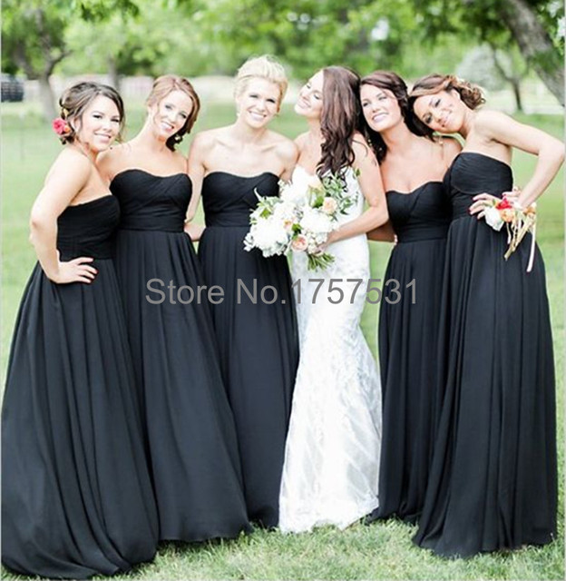 Black Bridesmaid Dresses Floor Length Chiffon Imported Clothing Vestidos Long Dress Beading Simple