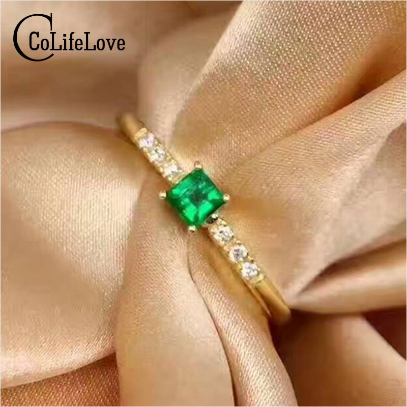 все цены на CoLife Jewelry classic emerald engagement ring 3mm natural emerald silver ring solid 925 silver emerald gemstone ring for wife онлайн