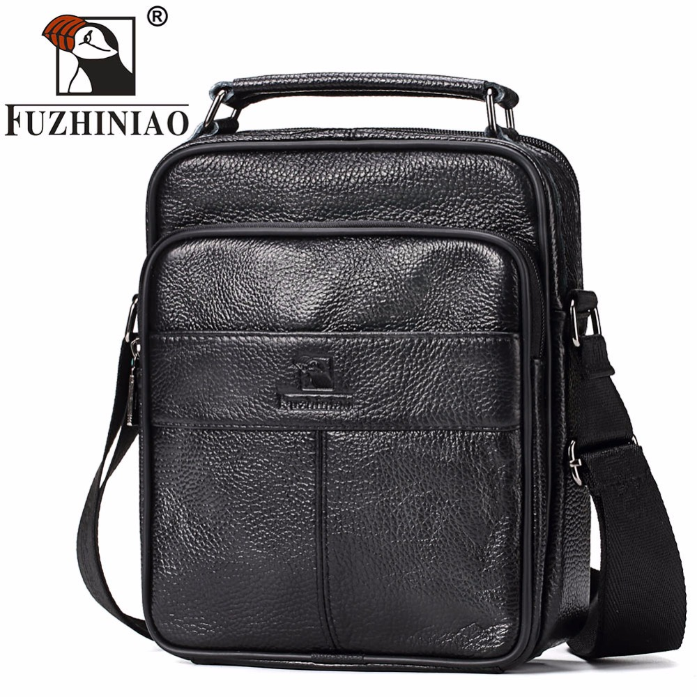 FUZHINIAO HOT!!! Mens Messenger Bags Black Genuine Leather Male Crossbody Shoulder Bags Travel Strap Small Casual Flap Handbags