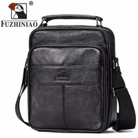 FUZHINIAO HOT Men S Messenger Bags Black Genuine Leather Male Crossbody Shoulder Bags Travel Strap Small