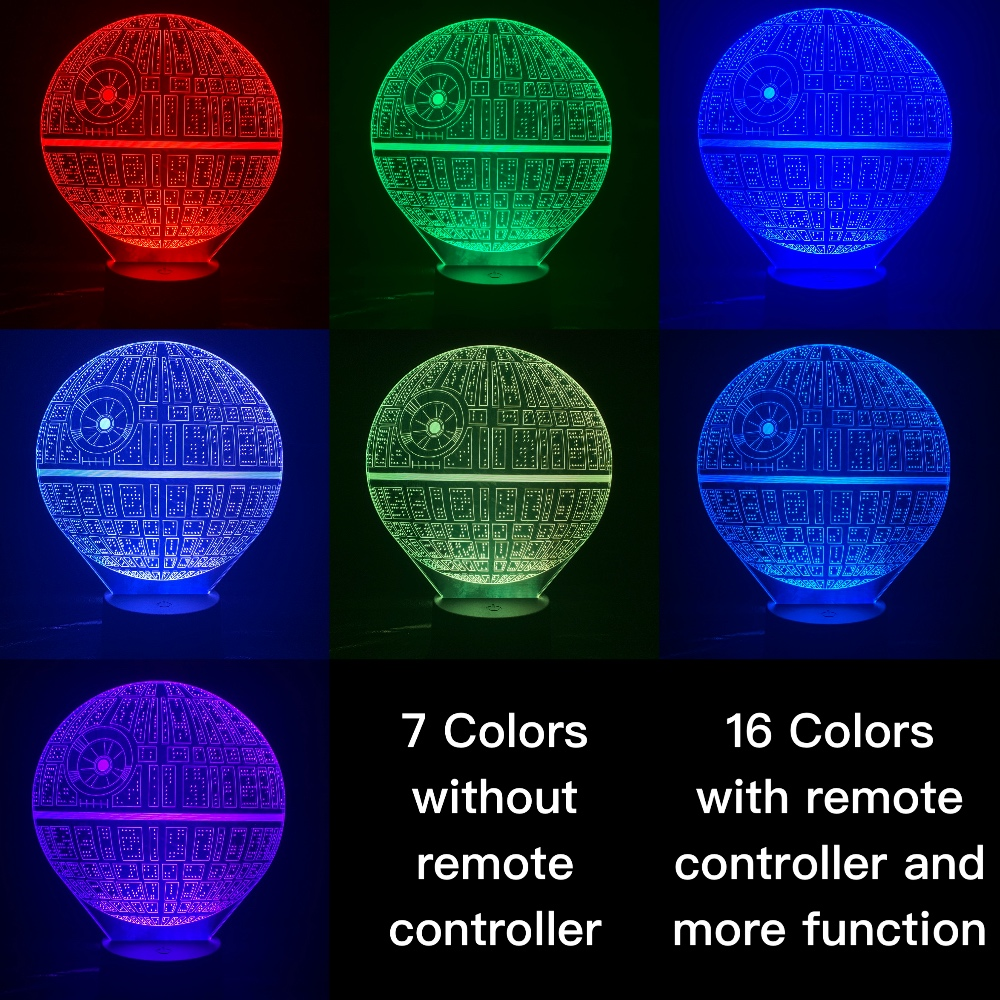 Novelty Lights Star Wars Death Star 2 3D Illusion Night Lamp Lampara Hologram Atmosphere Office Decor Baby 3D Led Night Light