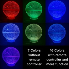 Novelty Lights Star Wars Death Star 2 3D Illusion Night Lamp Lampara Hologram Atmosphere Office Decor Baby 3D Led Night Light foreign star wars millennium falcon 3d lamp acrylic stereoscopic led colorful gradient atmosphere lamp