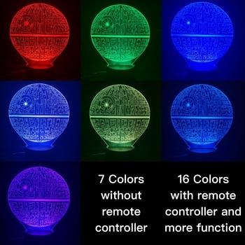 Novelty Lights Star Wars Death Star 2 3D Illusion Night Lamp Lampara Hologram Atmosphere Office Decor Baby 3D Led Night Light