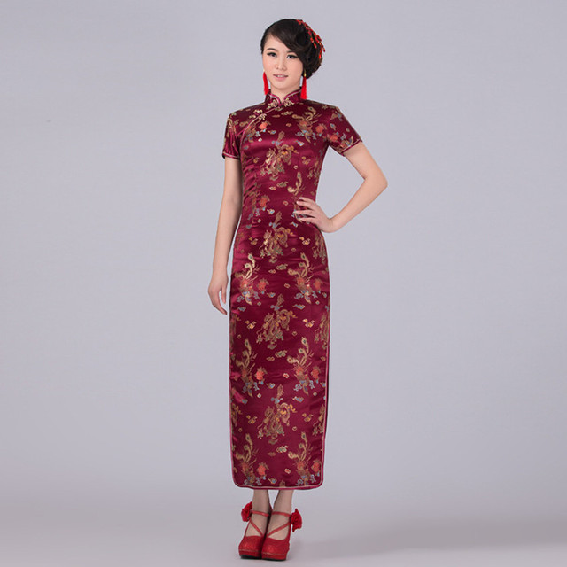 Aliexpress.com : Buy Burgundy Chinese Traditional Dress Women ...