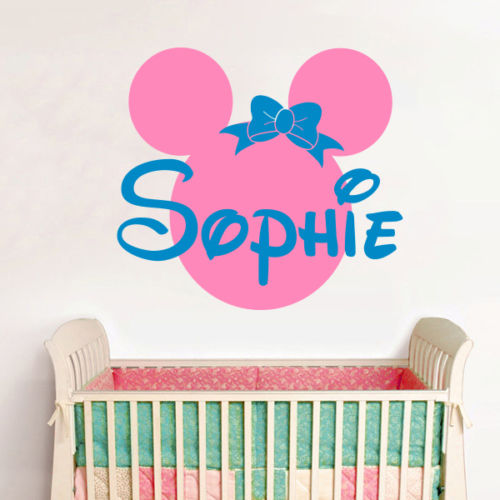 Marvelous Personalized Name Minnie Mouse Vinyl Wall Stickers Baby Wall Decals Pink Wall  Stickers For Kids Room Girl Bedroom Mural D680 In Wall Stickers From Home  ...