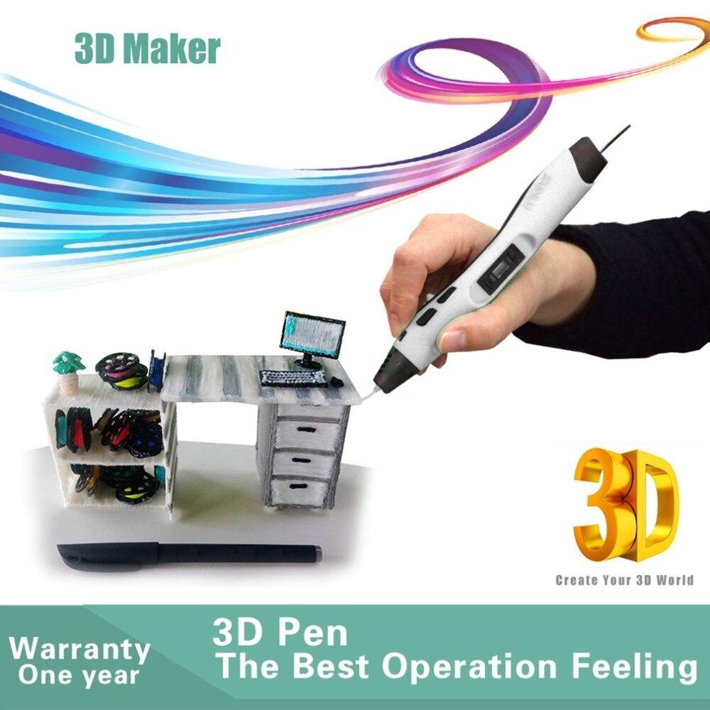 Pluma de impresión 3D de baja temperatura niños Graffiti pluma niños divertida herramienta de dibujo Con 5 M 20 colores PLA Material - 3