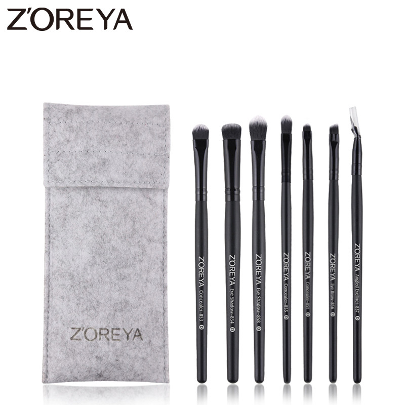 Zoreya Brand New Arrival Eye Makeup Brushes Sets 7pcs Synthetic Fiber Makeup Brush Professional Eye Brow Eye Shadow Cosmetic Kit