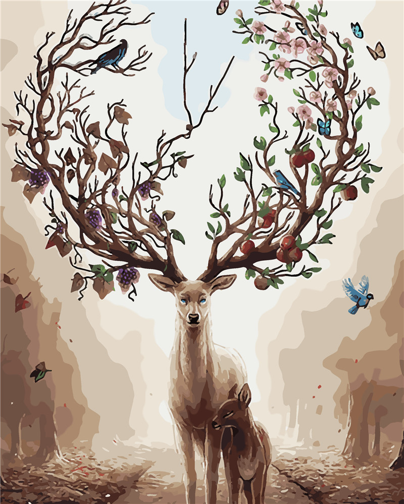 HQ Deer Tree Abstract Dream Painting op nummer Verf op canvas Acryl - Huisdecoratie