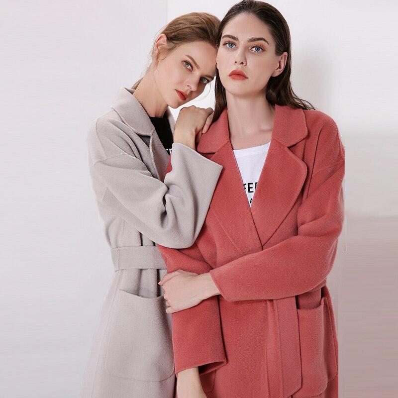 Manches Hiver rose Survêtement Tranchée Gris Long Cachemire Manteaux Col Femmes 2018 Mode Sash De Milan Dame Cranté Ceinture Longues Laine 0wtAHH