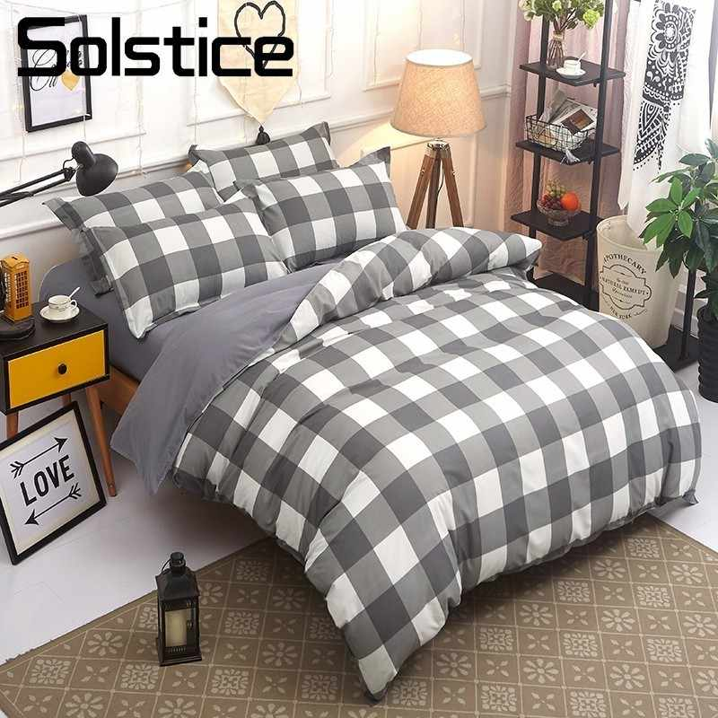 Solstice Home Textile King Queen Twin Bedding Sets Plaid Geometric Duvet Quilt Cover Pillowcases Flat Sheet Boy Girl Teens Linen