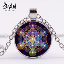SIAN Metatron Cube Necklace Sacred Geometry Art Flower of Life Cosmic Energy Center Sign Pendant Necklace Magic Hexagram Choker(China)