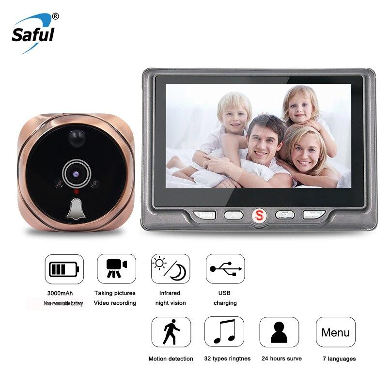 Saful 3000 mah Câmera Olho Mágico de 120 Graus 7 Línguas Digital Porta Espectador Olho Mágico da Porta De Gravação De Vídeo Detecção de Movimento Da Câmera