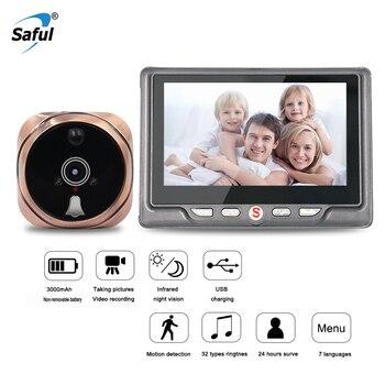Saful 3000mAh kamera szpiegowska 120 stopni 7 języków cyfrowy wizjer do drzwi przeglądarka wykrywanie ruchu nagrywanie wideo kamera drzwiowa
