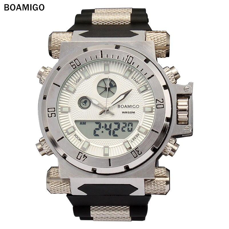 BOAMIGO marca militari orologi sportivi grande faccia Dual Time Quarzo Digitale Orologio da polso in gomma banda relogio masculino
