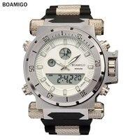 BOAMIGOยี่ห้อผู้ชายทหารกีฬานาฬิกาขนาดใหญ่ใบหน้าคู่เวลาควอตซ์นาฬิกาดิจิตอลนาฬิกาข้อมือยางรั...