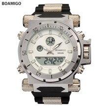 BOAMIGO 2016 china marca Hombres deportes militares relojes de Hora Dual Digital de Cuarzo banda de goma Reloj de pulsera relogio masculino