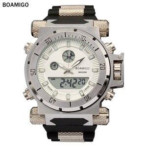 Image 1 - BOAMIGO מותג גברים צבאי ספורט שעונים גדול פנים כפולה זמן קוורץ הדיגיטלי שעון גומייה שעוני יד relogio masculino