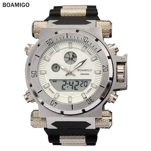 BOAMIGO מותג גברים צבאי ספורט שעונים גדול פנים כפולה זמן קוורץ הדיגיטלי שעון גומייה שעוני יד relogio masculino