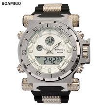 Boamigo ブランド男性軍のスポーツウォッチ大顔デュアルタイムクォーツデジタル腕時計ラバーバンド腕時計レロジオ masculino