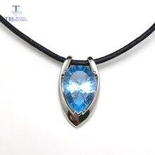 Tbj, v forma pingente em 925 prata esterlina com céu natural azul topázio côncavo corte pingente com cabo de couro para mulher e meninas