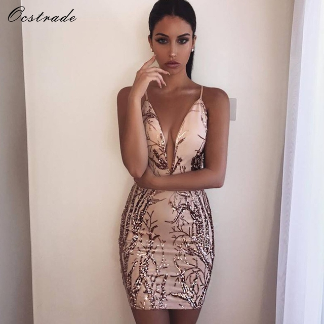 43ffa8bfaf9a Ocstrade2017 New Arrivals Nude Deep v Neck Bodycon Dress Sexy Party Club  Rose Gold Sequin Party Dress for Women