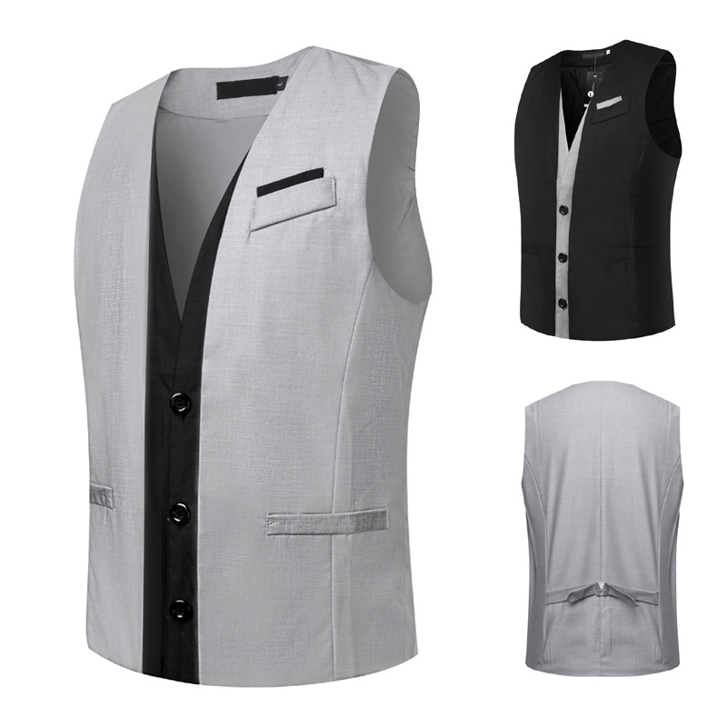 Men Sleeveless V-neck Button Waistcoat Suit Vest Slim Fit Fake Two Pieces Vests Tops H9