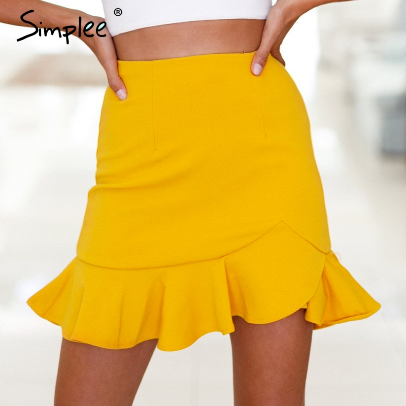 Simplee Cross ruffles hem high waist mini skirts Sexy red slim women skirt pencil white trumpet skirt plus size summer