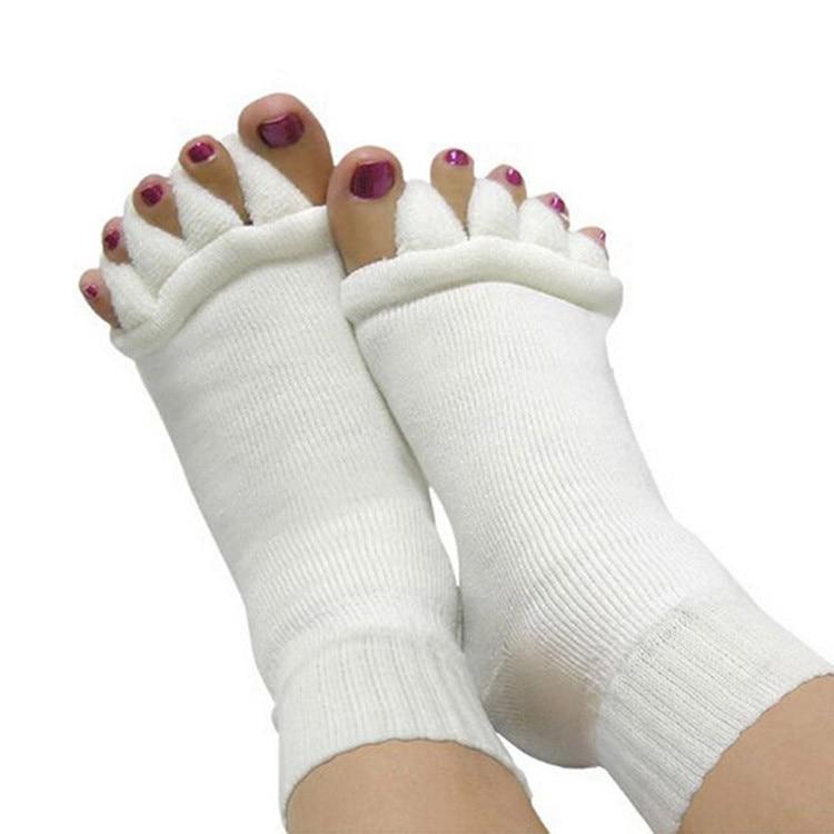 ✔  Пяточные Носки Пальцы Ног Сепаратор Выравнивание Ног Обезболивающее Массаж Носки Женщина Белый Подар ①