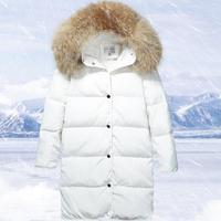 Winter White Duck Down Jacket Female Parkas Jacket Women Long Thick Parka Natural Raccoon Fur Collar Hood Coat