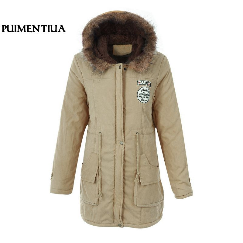 Puimentiua Women Jacket Plus Size Faux Fur Collar Winter Jacket 2019 Warm Thick Hood Coat Female Winter Cotton Down   Parkas   New
