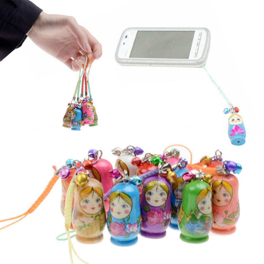 6 Pcs/Set Matryoshka Doll Hanging Ornament With Strap Wooden Keychain Handbag Phone Accessories KidsToy Gifts LXH