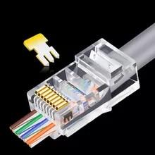 OULLX 20/50/100pcs RJ45 커넥터 이더넷 케이블을 통한 6U Gold PlatedPass 모듈 플러그 네트워크 RJ-45 크리스탈 헤드 Cat5 Cat5e