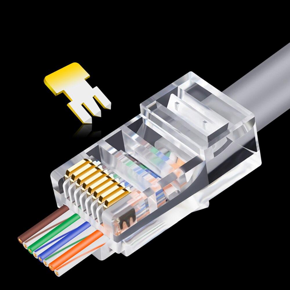 Oullx 20/50/100 pces rj45 conector 6u ouro platedpass através de cabos ethernet módulo plug rede RJ-45 cabeças de cristal cat5 cat5e