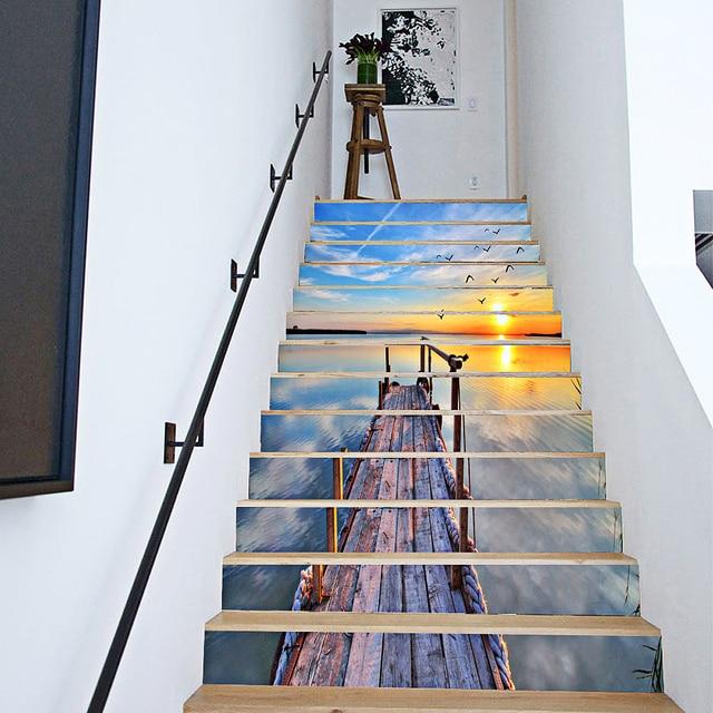 6 pcs/12 pcs DIY Escalier Autocollants 3D Mer Paysage Escalier Autocollants  pour Chambre Escaliers Décoration Décor À La Maison de Plancher Wall ...