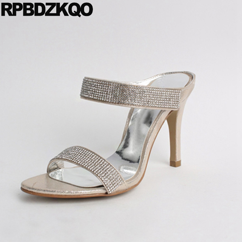 High Heels Open Toe Rhinestone Crystal Sandals Diamond Wedding Stiletto Women Cheap Shoes Silver Slides Pumps Slipper Strap Gold