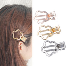 M MISM Girls Alloy Flower Shape Hair Clip Simple High Quality Hollow Out Hairgrip Bang Lattice Barrette Hair Clamps Accessories(China)