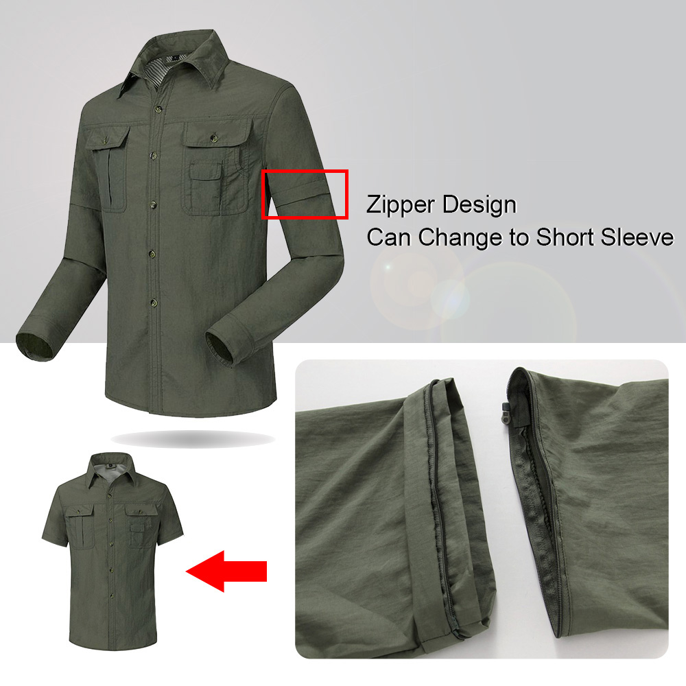 New Men Summer Quick Dry Shirts Removable Sleeve Thin Breathable Tops Outdoor Fishing Hiking Sport Durable UV Protect Coat