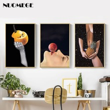 NUOMEGE Nordic Simple Abstract Black and White Beauty Posters and Prints Canvas Painting for Living Room Wall Art Home Decor