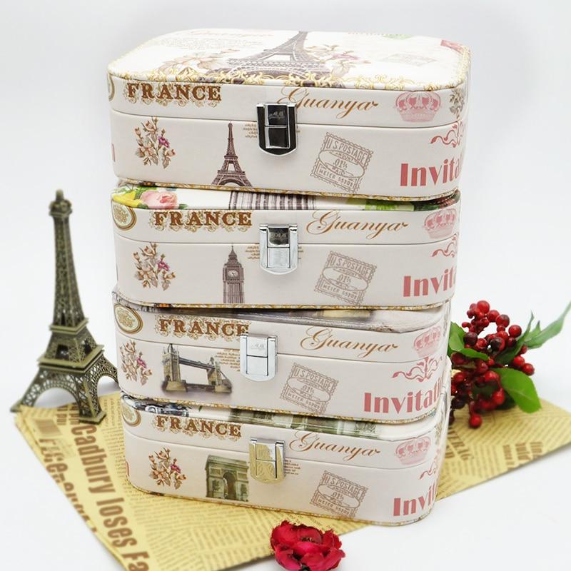 BC528 High grade love birthday gift choice fashion printed Eiffel Tower jewelry box earings ring bracket carrying case big ben