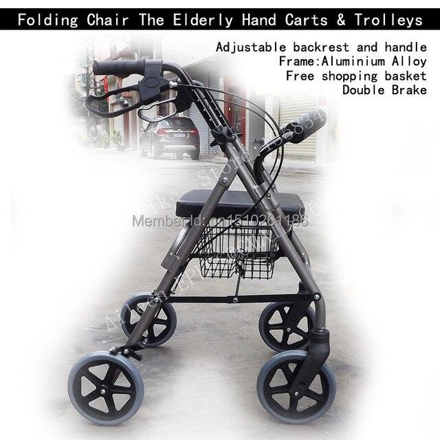 Shopping Trolley Elderly Seat Walking Aid Brakes Folding Chair ...