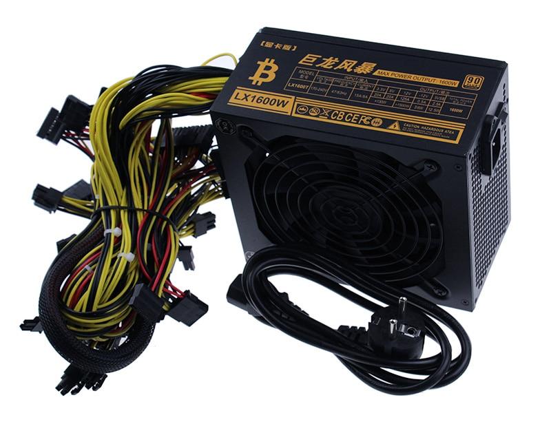 Vente chaude mineurs alimentation ventilateur ensemble 1600 W 6 GPU sortie y compris SATA Port 4 P 6 P 8 P 24 P connecteurs utiliser pour RX470 RX480 RX570