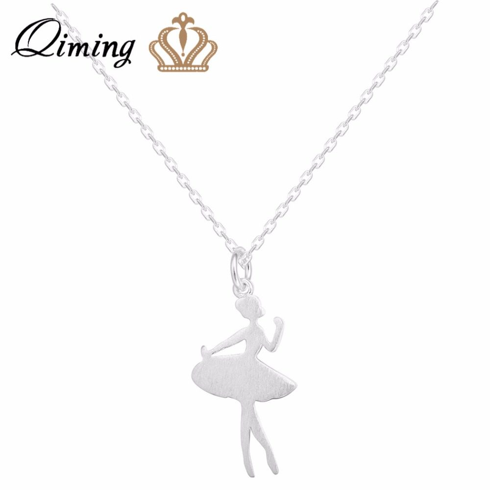 98c3d2b179b5 Qiming plata 925 Ballet collar danza encanto bailarín bailarina figura  colgante collar plata 925 joyería Accesorios