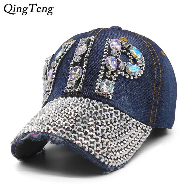 Ladies VIP Baseball Cap 2018 Women Studded Crystals Rhinestones Sequins Snapback  Hats Swag Vintage Denim Casual Sun Gorras 655ad1253948