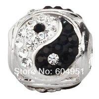 1 Teile/los Sterling Silber Europäischen Yin Yang Charm Bead Mit Österreichischen Kristall Großhandel Für Pandora Stil DIY Armbänder