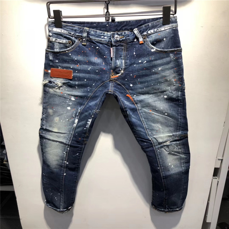 F.N.JACK New 2019 Fashion Men   Jeans   Stylish Ripped Pencil Pants Skinny Slim Hip Pop Denim Dot hole LOW Casual   Jean   hot sale